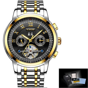 Watch Mens Tourbillon Automatic mechanical Watches Moon phases Men Top Brand Luxury Dive 30M Business full steel mens watch gold black Fashion & Tech Shop