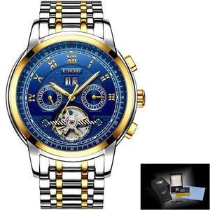 Watch Mens Tourbillon Automatic mechanical Watches Moon phases Men Top Brand Luxury Dive 30M Business full steel mens watch gold blue Fashion & Tech Shop