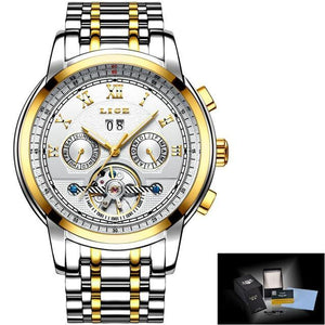 Watch Mens Tourbillon Automatic mechanical Watches Moon phases Men Top Brand Luxury Dive 30M Business full steel mens watch gold white Fashion & Tech Shop