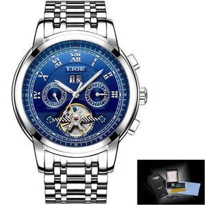 Watch Mens Tourbillon Automatic mechanical Watches Moon phases Men Top Brand Luxury Dive 30M Business full steel mens watch silver blue Fashion & Tech Shop