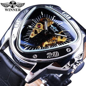 Winner Steampunk Fashion Triangle Golden Skeleton Movement Mysterious Men Automatic Mechanical Wrist Watches Top Brand Luxury GMT996-2 Fashion & Tech Shop