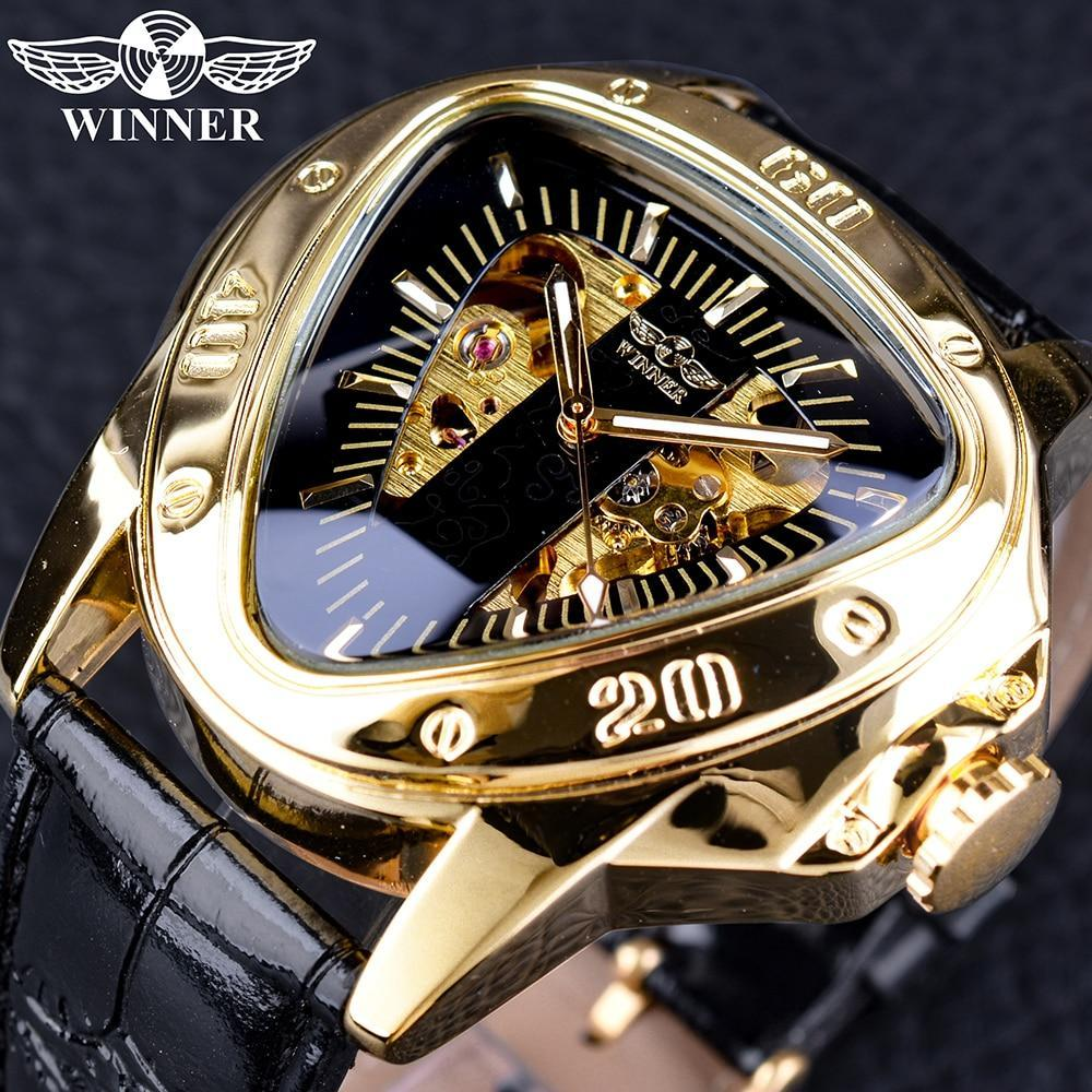 Winner Steampunk Fashion Triangle Golden Skeleton Movement Mysterious Men Automatic Mechanical Wrist Watches Top Brand Luxury GMT996-3 Fashion & Tech Shop