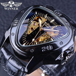 Winner Steampunk Fashion Triangle Golden Skeleton Movement Mysterious Men Automatic Mechanical Wrist Watches Top Brand Luxury GMT996-4 Fashion & Tech Shop