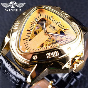 Winner Steampunk Fashion Triangle Golden Skeleton Movement Mysterious Men Automatic Mechanical Wrist Watches Top Brand Luxury GMT996-5 Fashion & Tech Shop