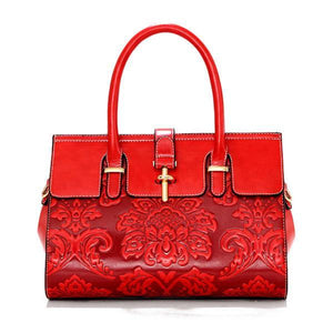 Women Chinoiserie Style National Floral Embossed Shoulder Crossbody Bag Bags & Wallets Red Fashion & Tech Shop