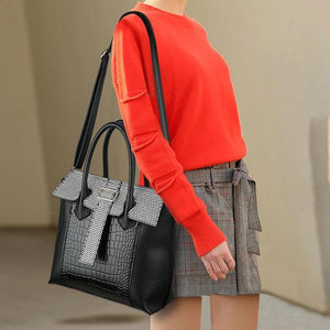 Women PU Leather Crocodile Pattern Handbag Solid Casual Crossbody Bag Bags & Wallets Black Fashion & Tech Shop