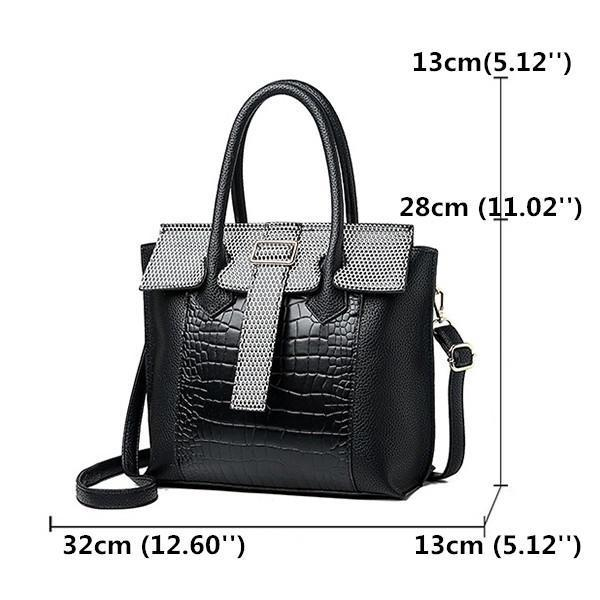 Women PU Leather Crocodile Pattern Handbag Solid Casual Crossbody Bag Bags    Wallets Black Fashion   52bfd4ab17d64