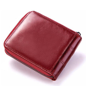 Women RFID Antimagnetic Genuine Leather Vintage Fashion 13 Card Slots Coin Bag Wallet Bags & Wallets Red Fashion & Tech Shop