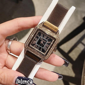 Women Watch Leather Strap Square Casual Watch mens watch Coffee Fashion & Tech Shop
