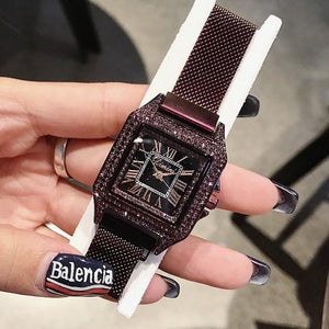 Women Watch Leather Strap Square Casual Watch mens watch Purple Fashion & Tech Shop