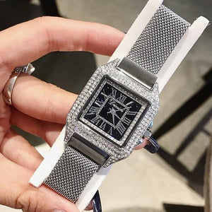 Women Watch Leather Strap Square Casual Watch mens watch Silver Fashion & Tech Shop