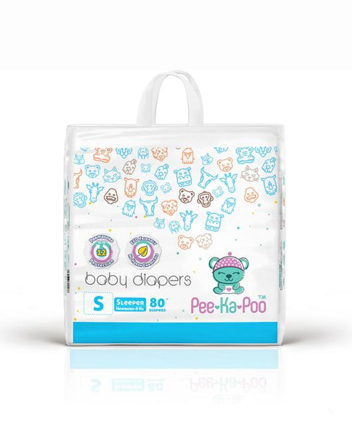 Pee-Ka-Poo : TAPED DIAPERS SLEEPER S 4KG - 8KG (80 PIECES)