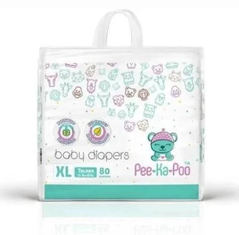 Pee-Ka-Poo : Taped Diapers Walker XL 12kg - 18kg (80 Pieces)