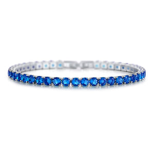 Laurent Sapphire Tennis Bracelet in 18k White Gold