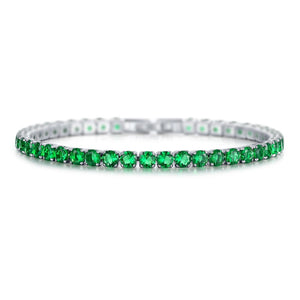 Laurent Emerald Tennis Bracelet in 18k White Gold