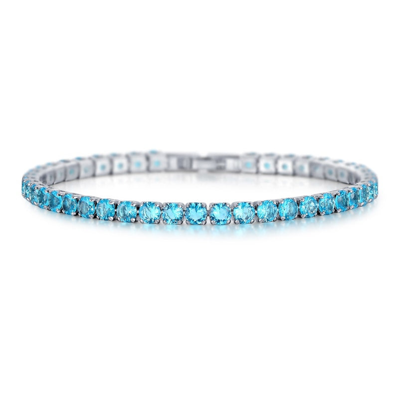 Laurent Aquamarine Tennis Bracelet in 18k White Gold