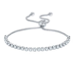 Diamond Buttercup Adjustable Moietie Tennis Bracelet in 18k White Gold (4mm)