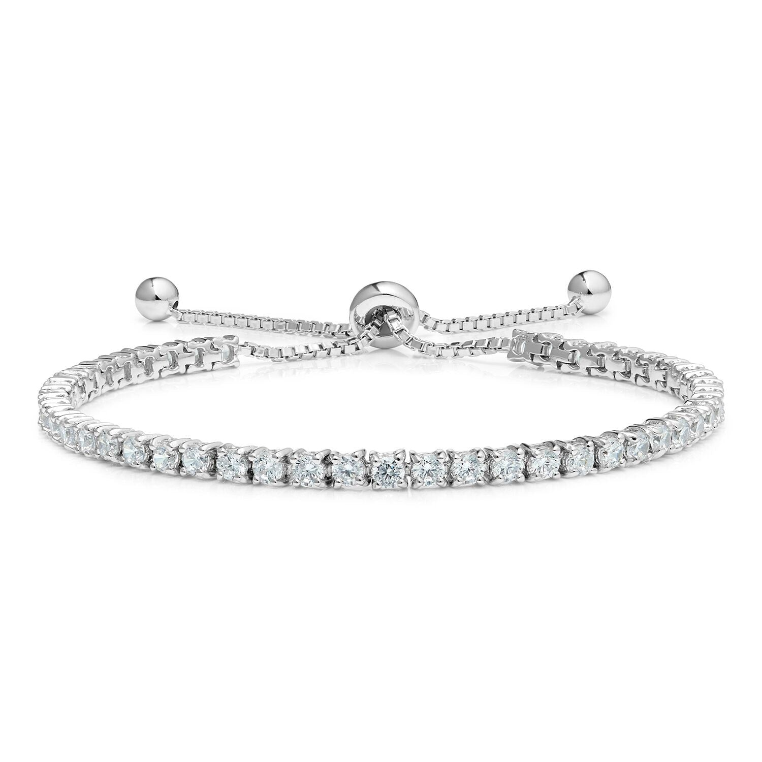 Diamond Classic Adjustable Moietie Tennis Bracelet in 18k White Gold (4mm)
