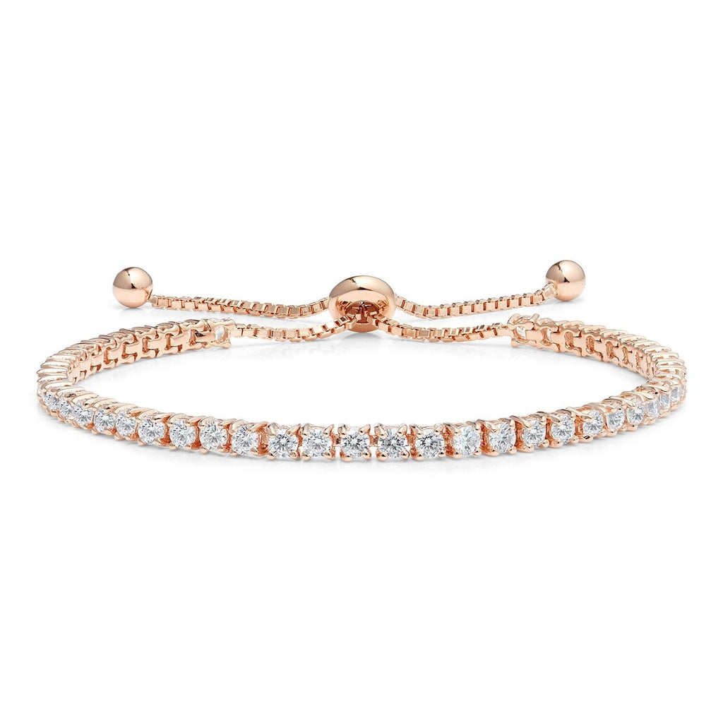 Diamond Classic Adjustable Moietie Tennis Bracelet in 18k Rose Gold (4mm)