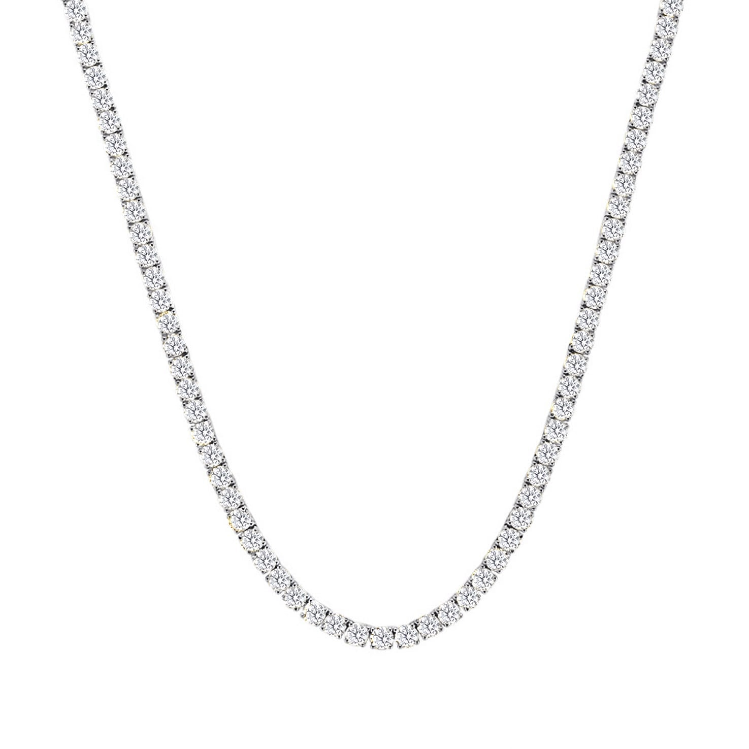 Classic Diamond Tennis Necklace in 18k White Gold