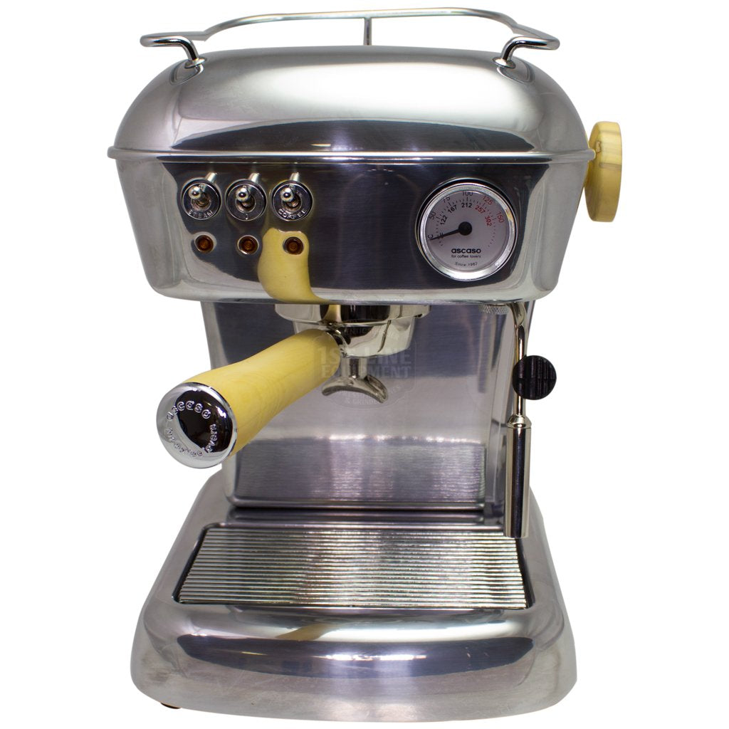 Ascaso Dream Up V3 Polished Aluminum Espresso Machine - Wood Handle And Steam Knob-Lowest Prices Online Barista Boss