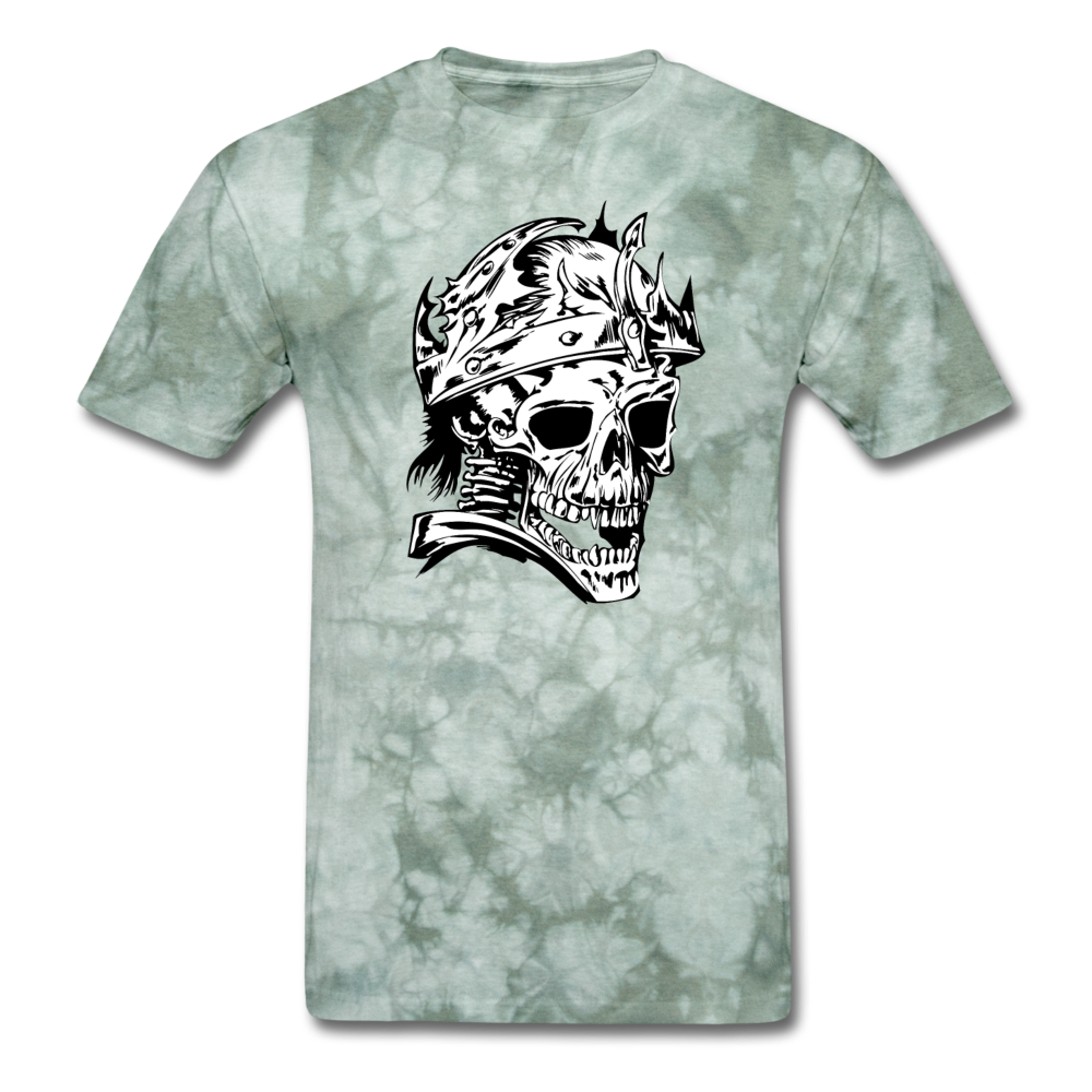 King Skull Tee - military green tie dye
