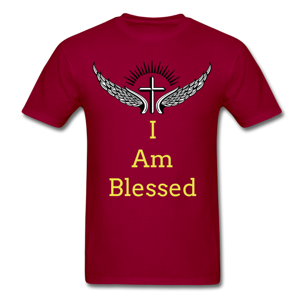 I Am Blessed Tee - dark red