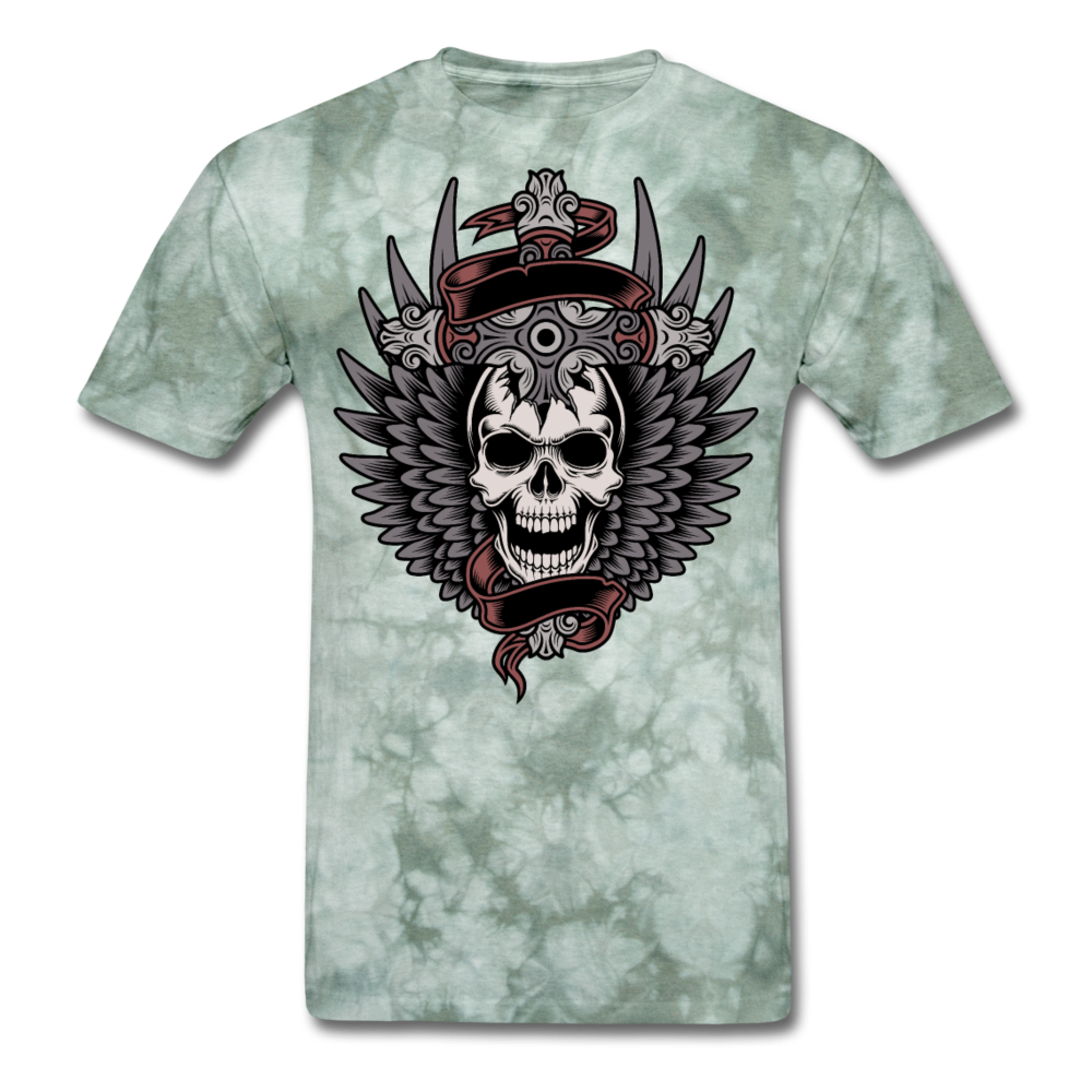 Crazy Tee. - military green tie dye