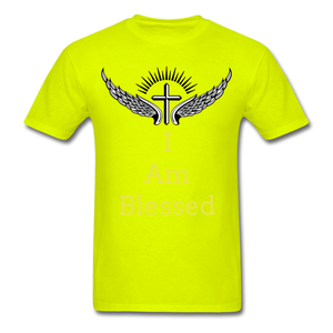 I Am Blessed Tee - safety green