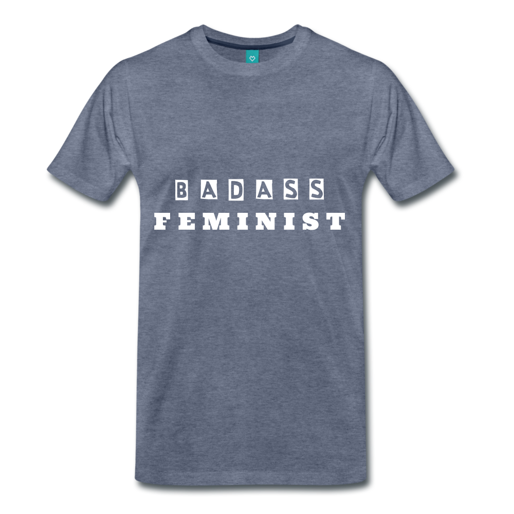 FEMINIST TEE - heather blue