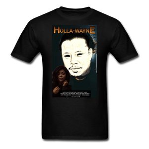 HOLLA-WAYNE TEE. - black