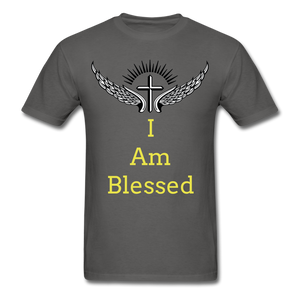 I Am Blessed Tee - charcoal