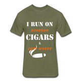Bourbon, Cigars, Cuss Words - heather military green