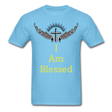 I Am Blessed Tee - aquatic blue