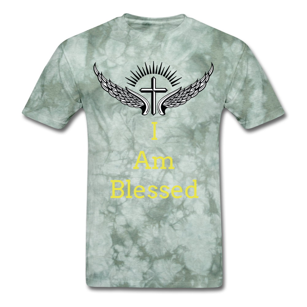 I Am Blessed Tee - military green tie dye
