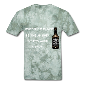 Whiskey Tee - military green tie dye