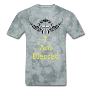 I Am Blessed Tee - grey tie dye