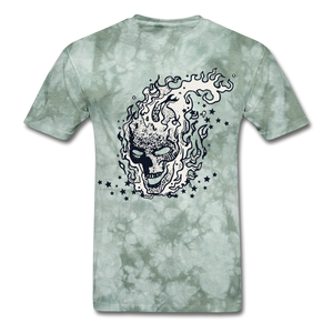 Sparkle Skull Tee - military green tie dye