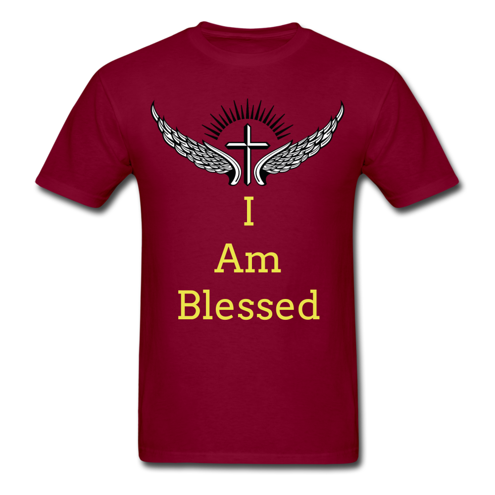 I Am Blessed Tee - burgundy
