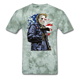 Trump Killer Tee - military green tie dye