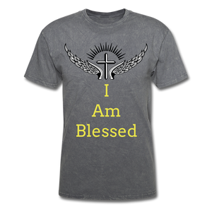 I Am Blessed Tee - mineral charcoal gray