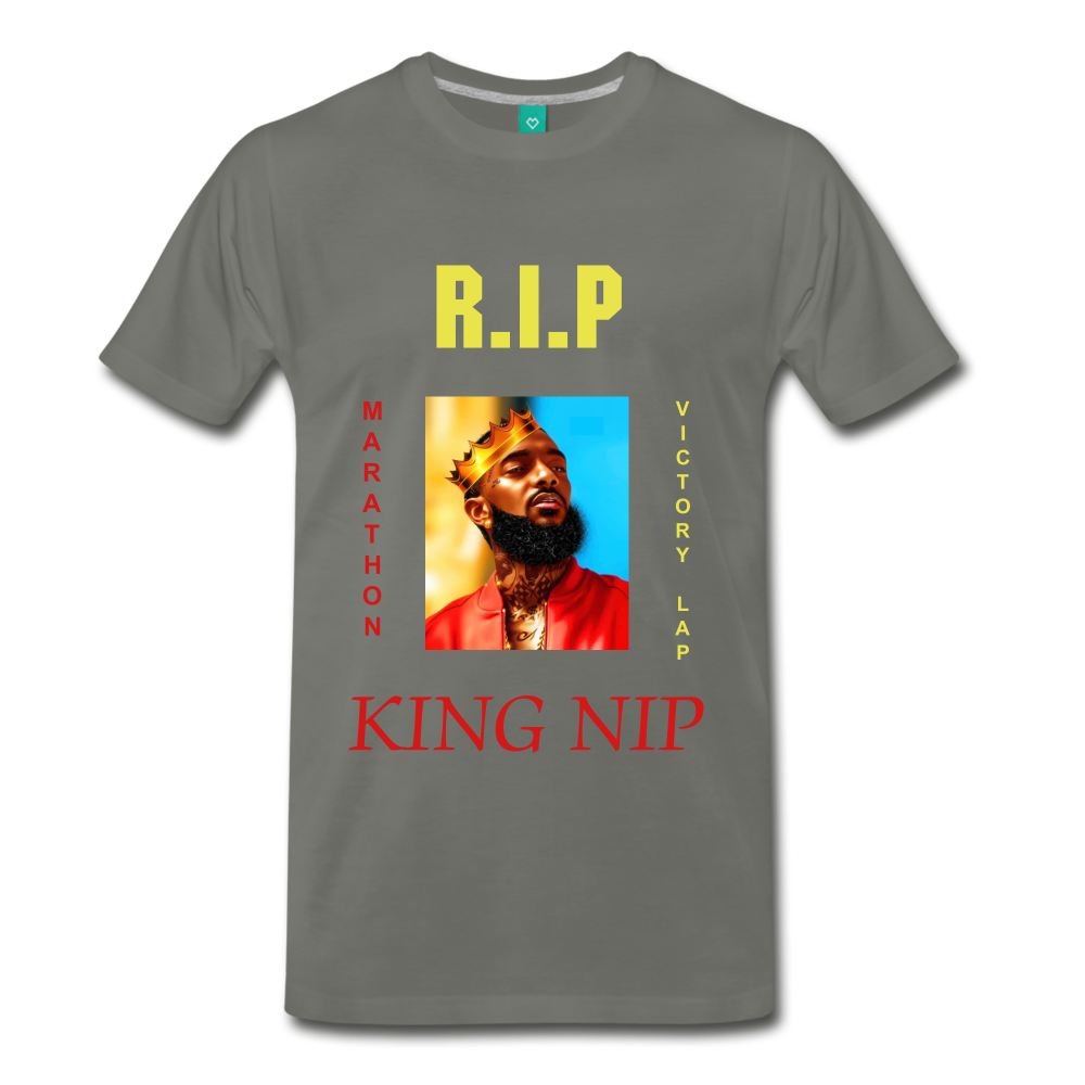 KING NIP TEE. - asphalt gray
