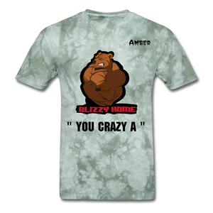 Crazy A Tee @ - military green tie dye