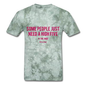 High Five Tee - military green tie dye