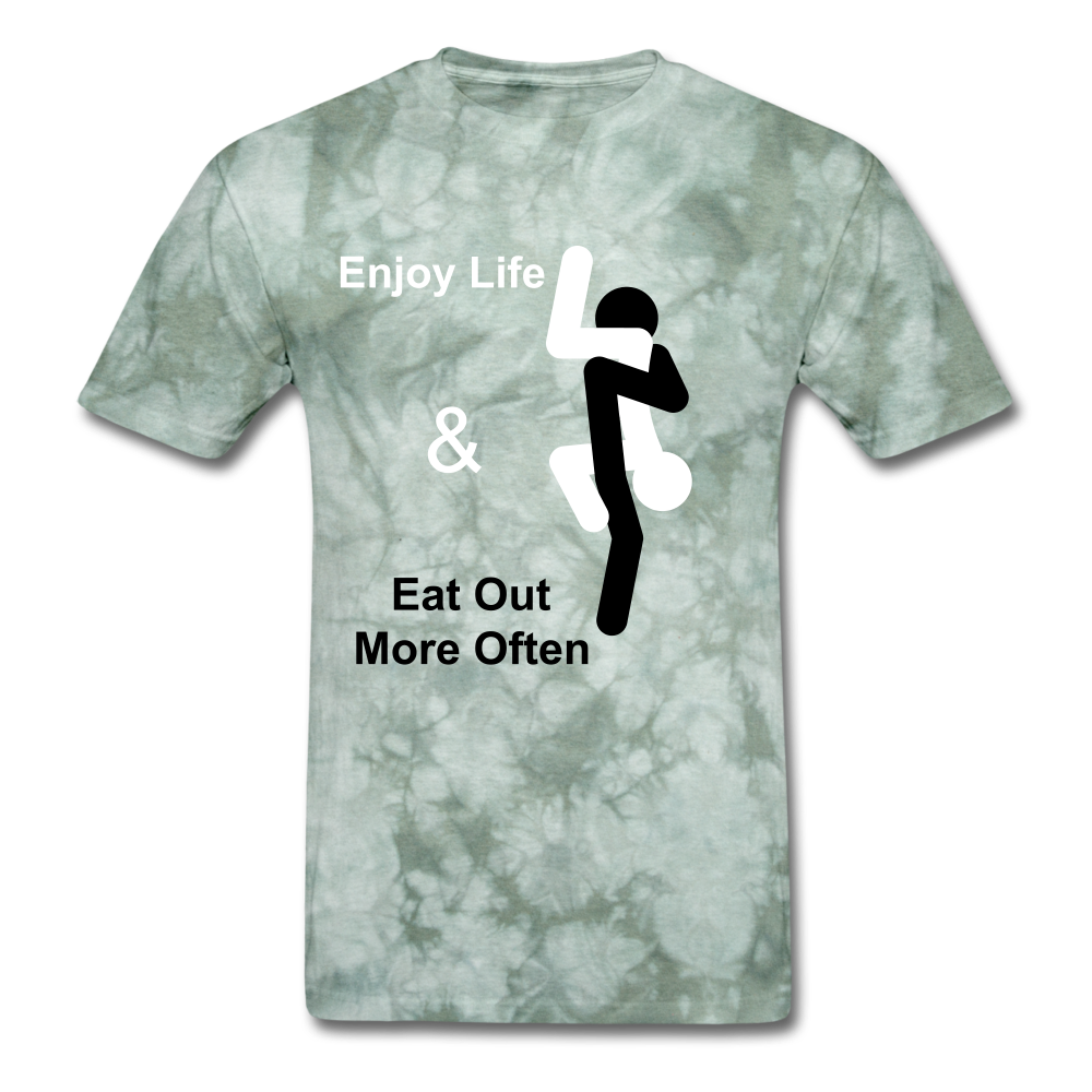 Eat Out Tee - military green tie dye