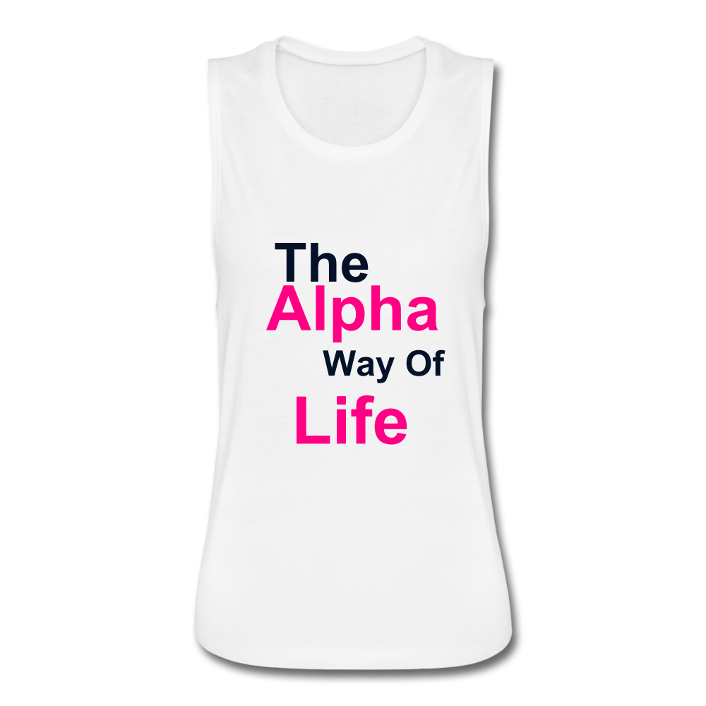 Women's Alpha Way of Life Flow Tank - white