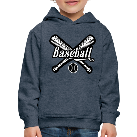 Kid's Baseball Hoodie - heather denim