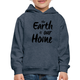 Kid's Earth Is Our Home Hoodie - heather denim