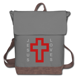 Jesus Loves Canvas Backpack - gray/brown