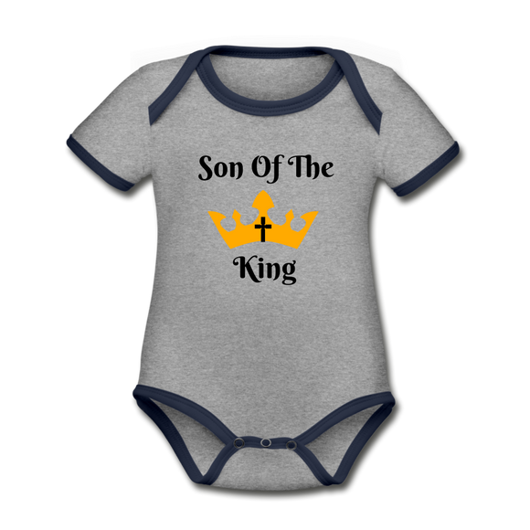 Son Of The King Organic Onsie - heather gray/navy